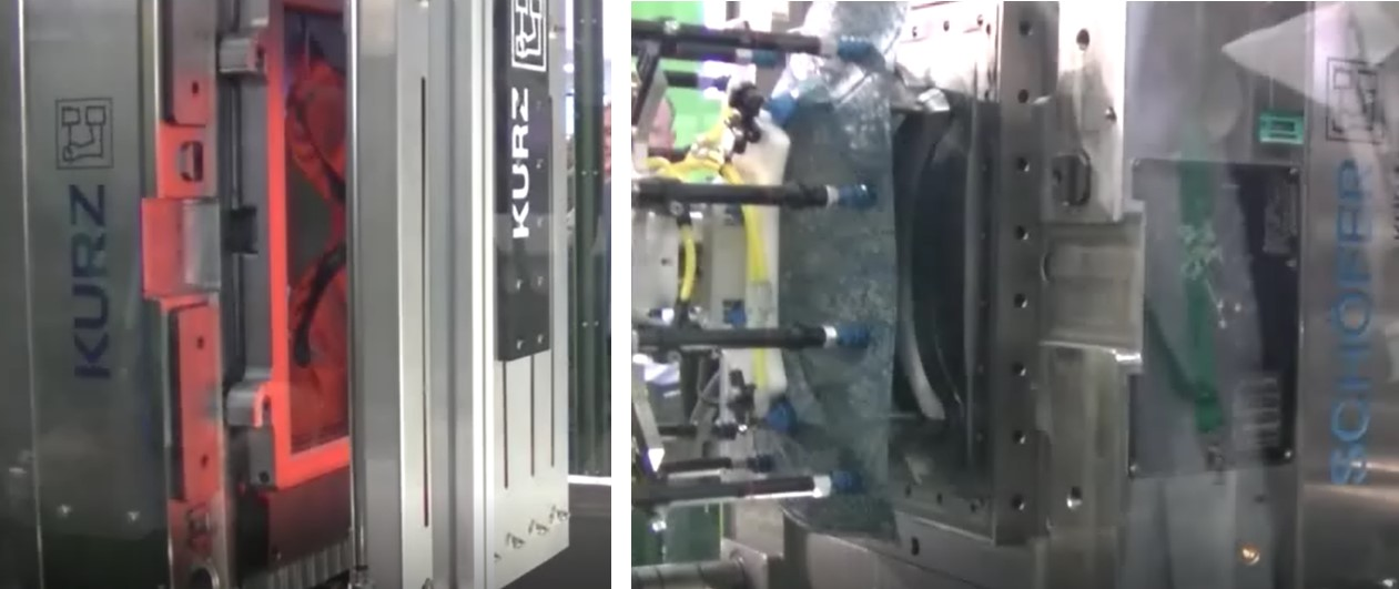 ENGELブースにおけるフィルムインサート成形のようす 左:シートの予熱のようす、右:製品取り出しのようす