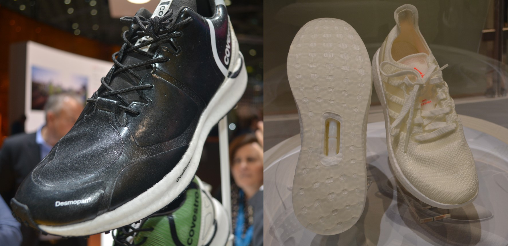 オールTPUのスポーツシューズ 左:covestroブースの展示、右:BASFブースの展示