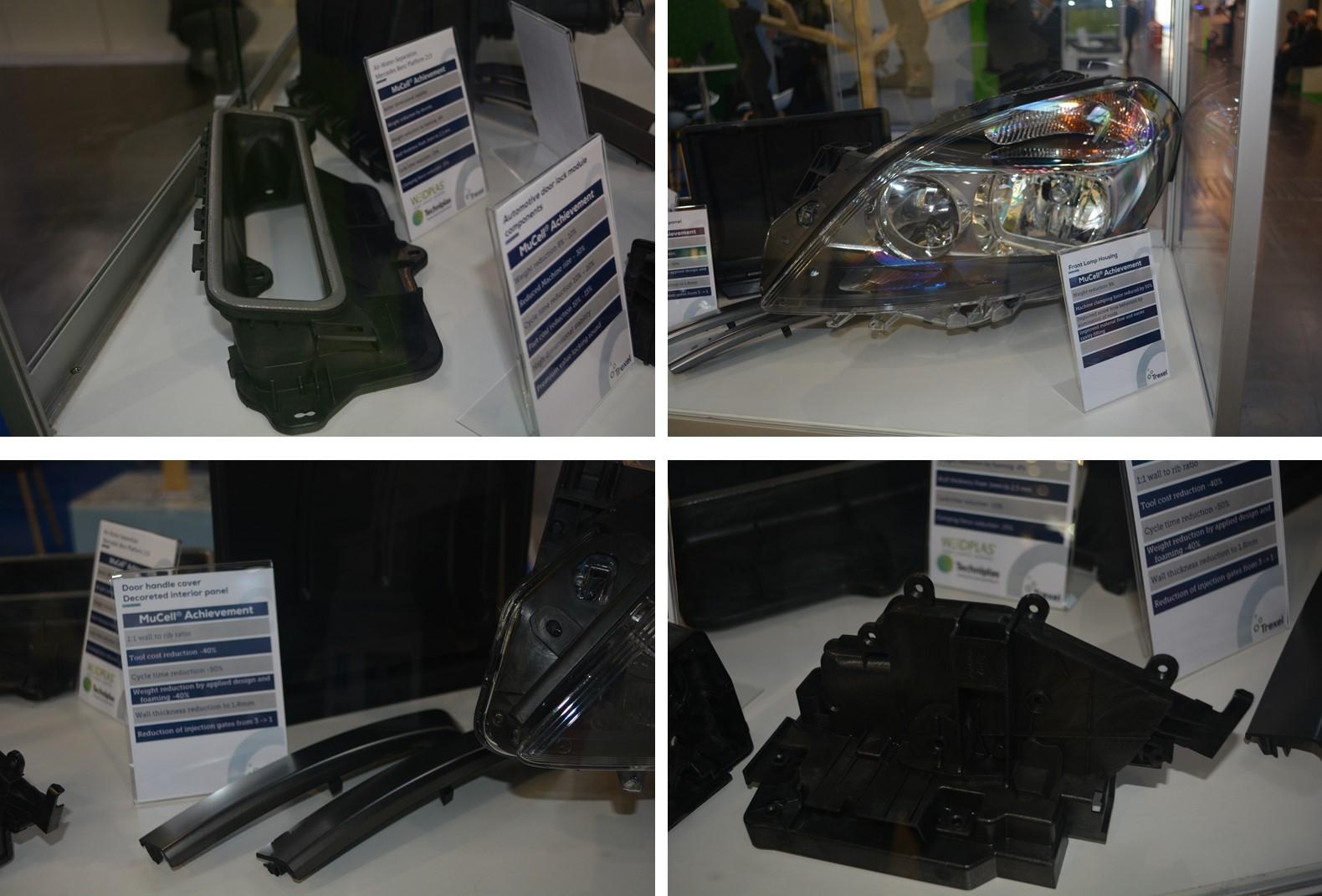 TREXELブースに展示されていたMuCell成形品