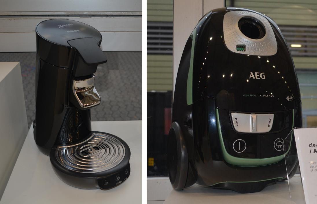 EREMAブースに展示されていたリサイクル材を使用した家電製品